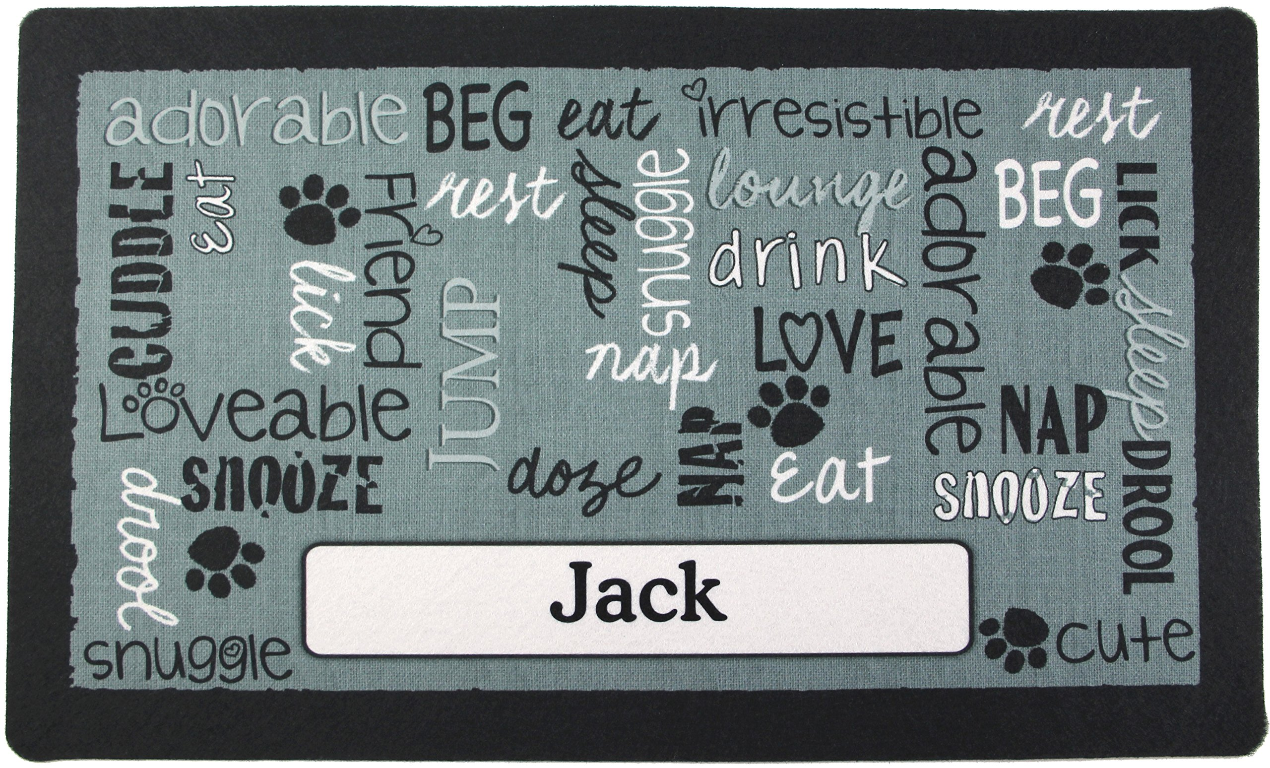 Drymate Pet Placemat, Dog Food Mat, Cat Food Mat – Personalized Pet Food Mat Personalized Placemats (Made from Recycled Fibers, Machine Washable) (Large - 16'' x 28'', Linen - Black)