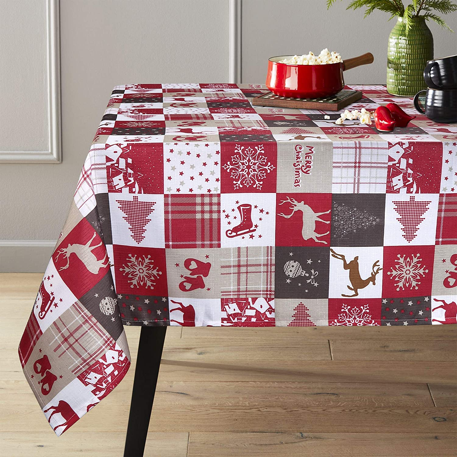 """Lahome Christmas Tree Deer Tablecloth - Holiday Cartoon Elk Snowflake Engineered Printed Table Cover for Christmas Kitchen Dining Room Party Decor (Christmas Tree Deer, Rectangle - 60"""" x 120"""")"""