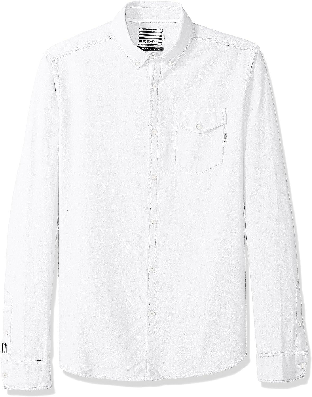Scotch /& Soda Mens AMS Blauw Clean Oxford Shirt with Chest Pocket