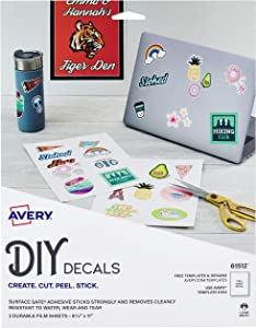 """Avery Decals with Surface Safe Removable Adhesive,Water & Tear Resistant, 8.5"""" x 11"""", 3 Labels (61512)"""
