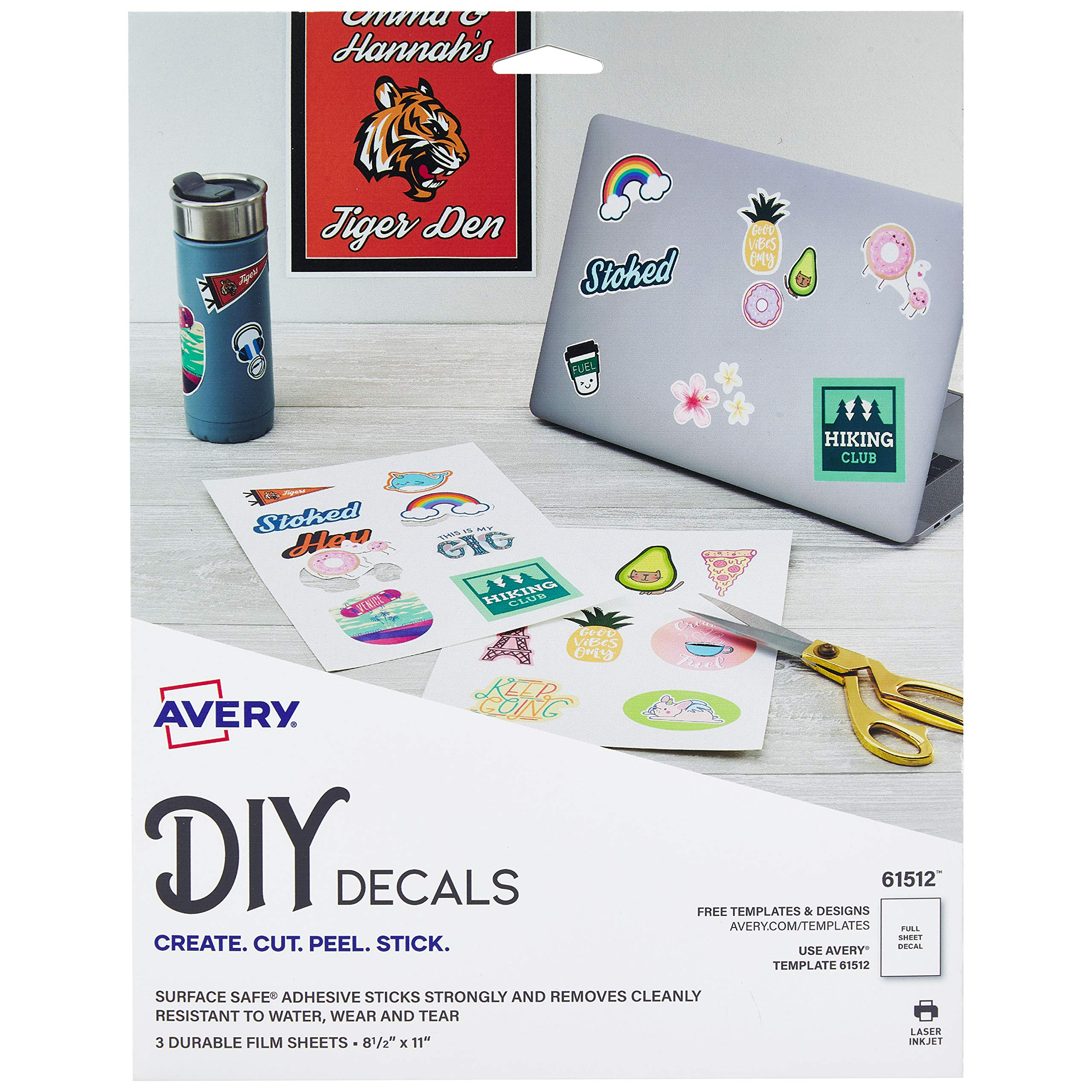 Avery Decals with Surface Safe Removable Adhesive,Water & Tear Resistant, 8.5'' x 11'', 3 Labels (61512) by AVERY