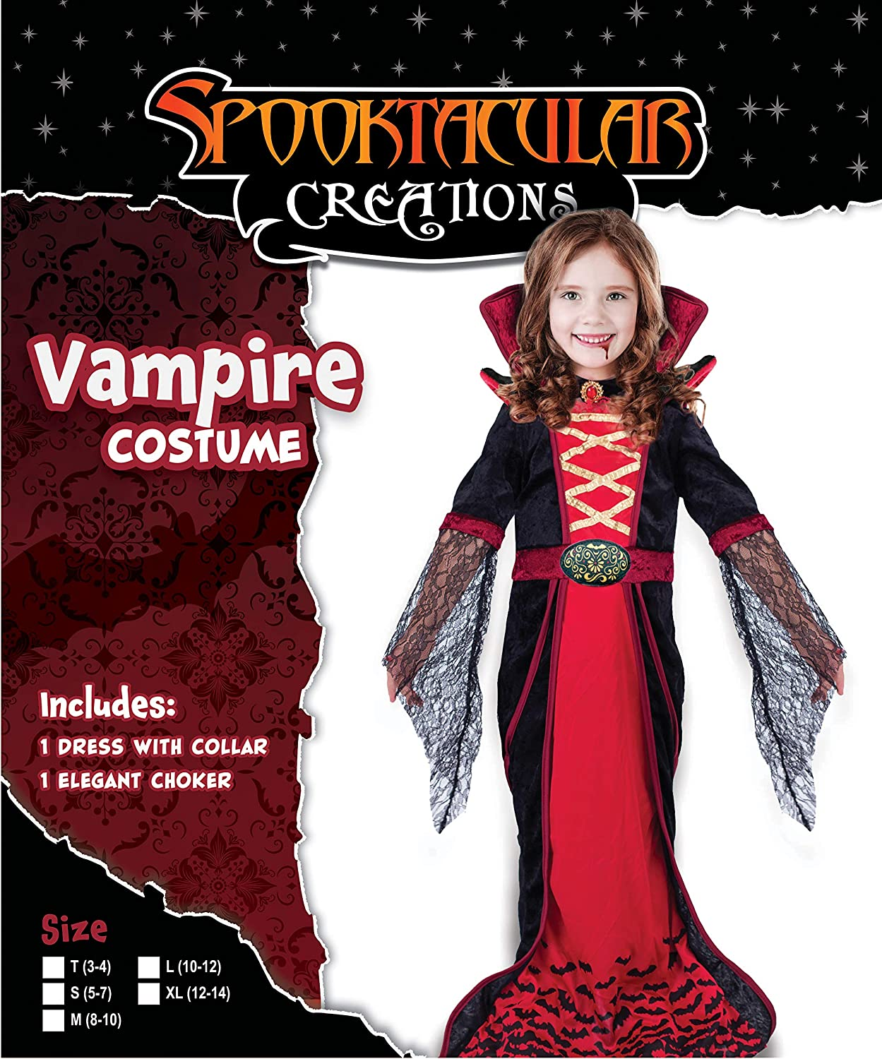 11202139c3956 Royal Vampire Costume for Girls Deluxe Set Halloween Gothic Victorian  Vampiress Queen Dress Up Party