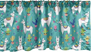 Ambesonne Llama Window Valance, Mexican Camels Along Floral Cactus Plants Succulent Desert Animals, Curtain Valance for Kitchen Bedroom Decor with Rod Pocket, 54