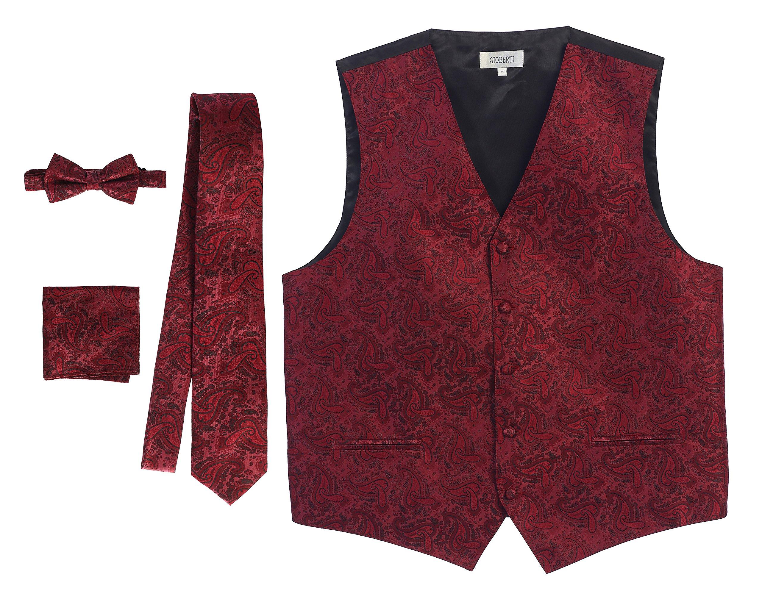 Gioberti Men's 4 Piece Formal Paisley Vest Set, Burgundy, Large