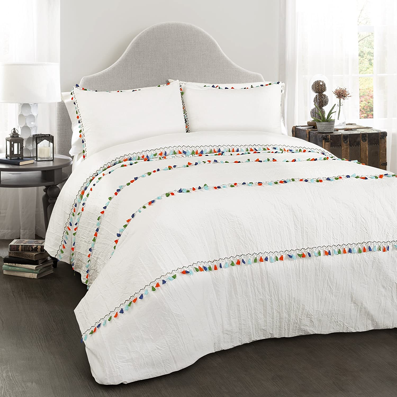 Lush Decor Boho Tassel Comforter 3 Piece Bohemian Style Bedding Set with Pillow Shams-Full Queen-White
