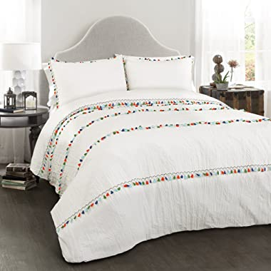 Lush Decor Boho Tassel 3 Piece Comforter Set, King, White