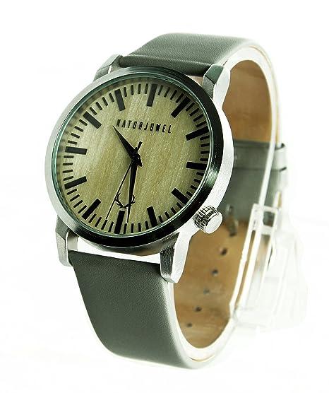 NATURJUWEL design - reloj de pulsera hecha a mano de madera natural especiales; colores beige