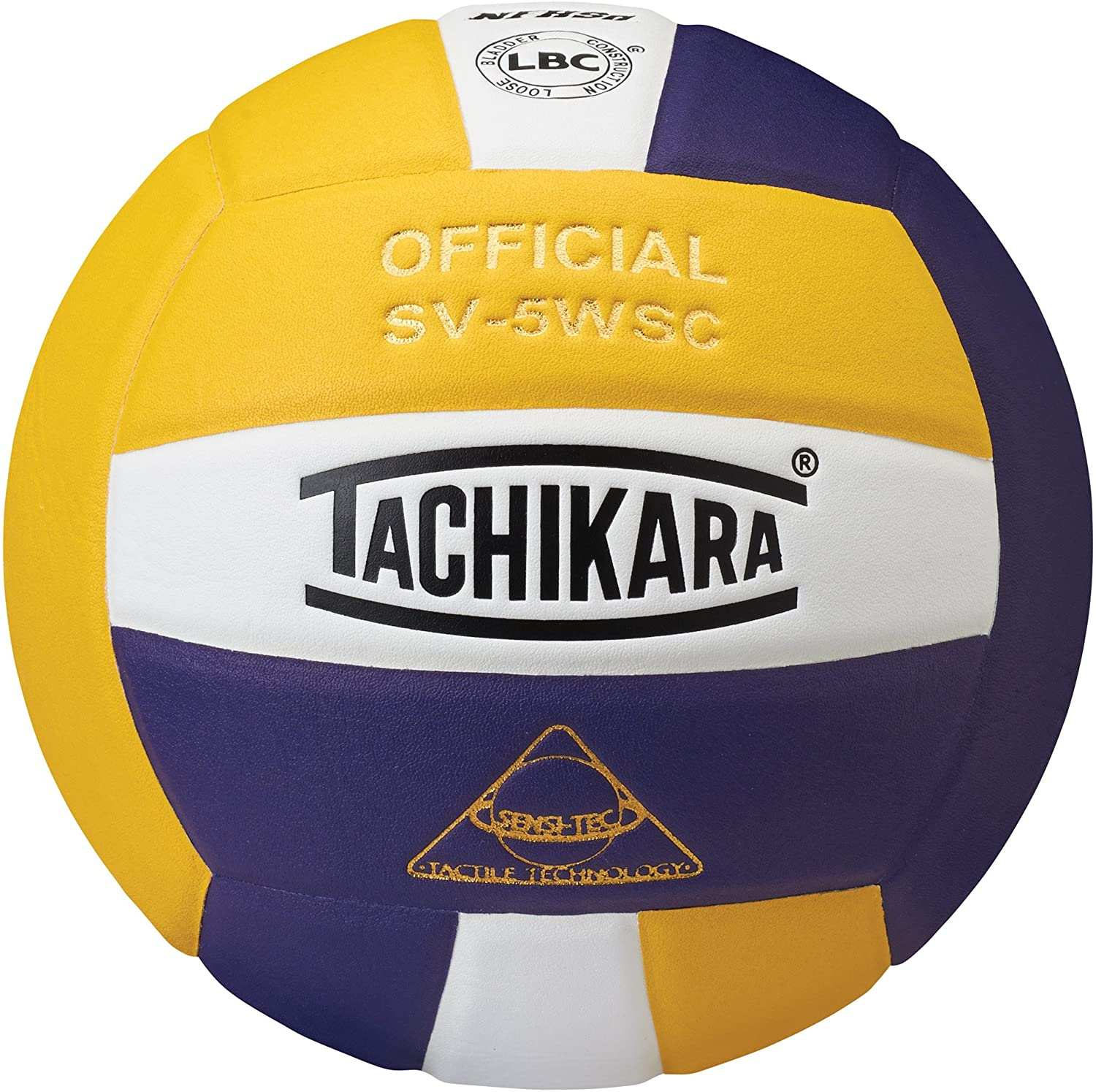 (紫の/白い/ゴールド) - Tachikara SV5WSC.GWP Sensi-Tec Composite High Performance Volleyball - ゴールド-白い-紫の