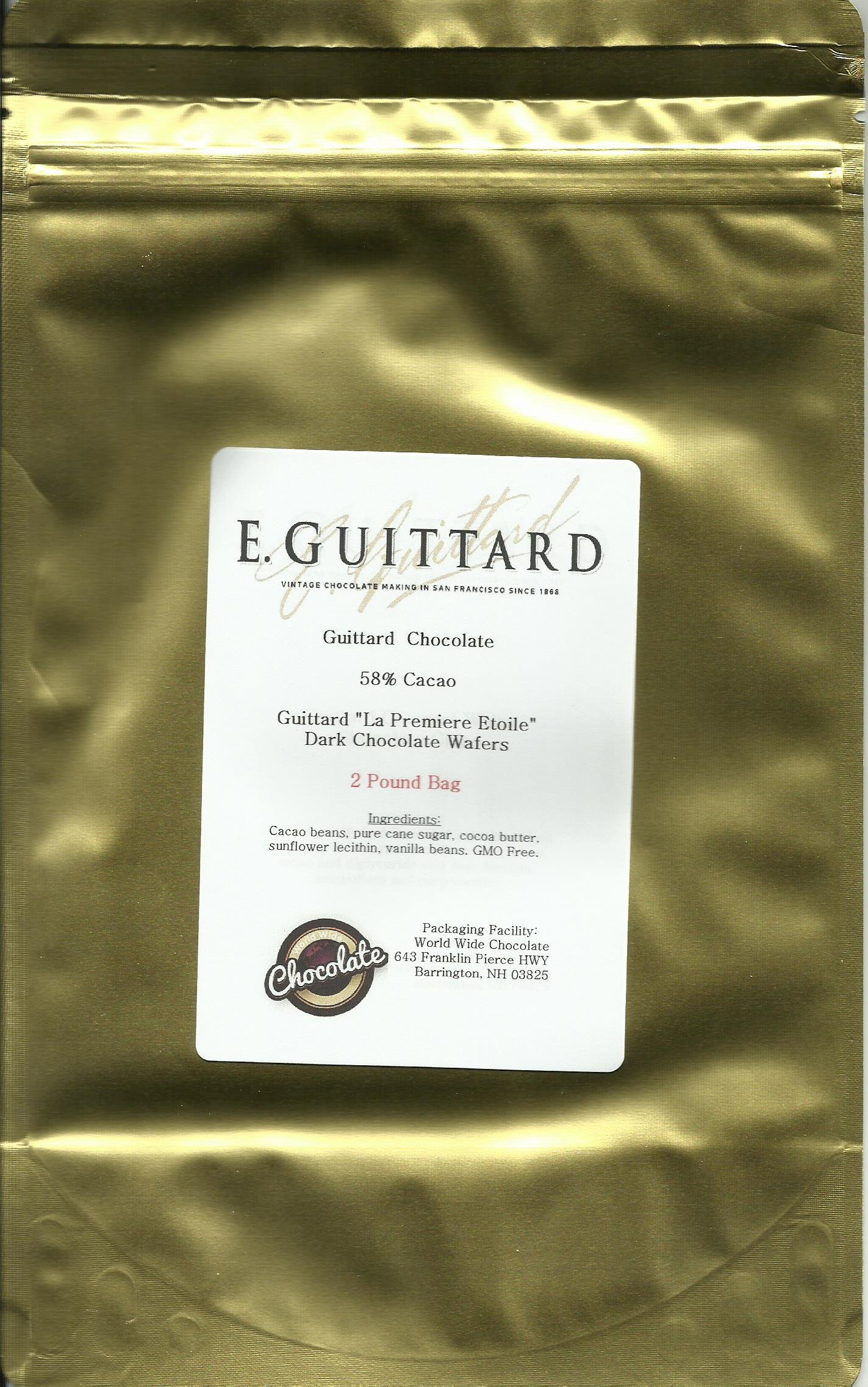 E. Guittard Chocolate - ''La Premiere Etoile'' Semisweet Dark Chocolate Wafers for Baking and Eating, 58% Cocoa, Gold Bag, 2 Pounds