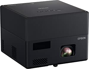 Epson EpiqVision Mini EF12 Smart Streaming Laser Projector, HDR, Android TV, Portable, sound by Yamaha, 3LCD, Full HD 1080p, 1000 lumens Color and White Brightness Bluetooth support Black Small