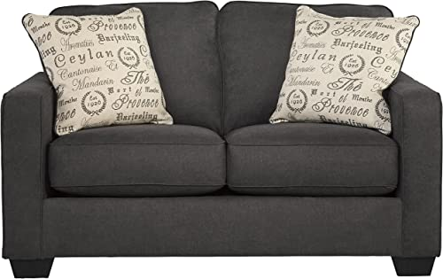 Flash Furniture Signature Design by Ashley Alenya Loveseat in Charcoal Microfiber
