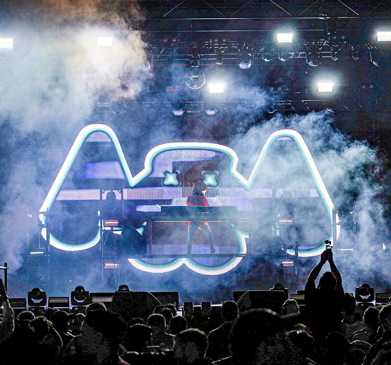Music Helmets DJ Full Head Mask Helmets Novelty LED Music Props Light Up for Bar Music Festival Halloween Costume Party White/…