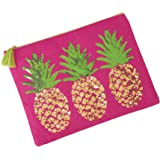 Mud Pie 8613287P Sequin Tropical Dazzle Carry All Case Pineapple Beach Bag,Pink