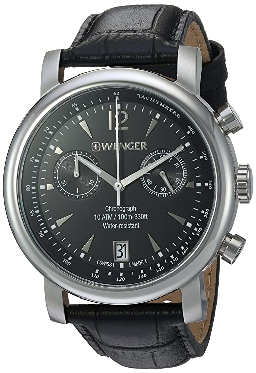 Review Wenger Men's 'Urban Classic Chrono' Swiss Quartz Steel-Two-Tone and Leather Casual Watch