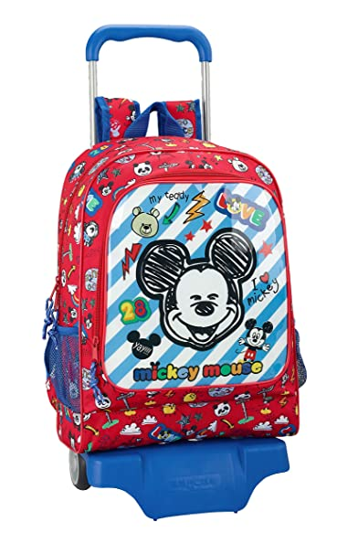"Mickey Mouse ""Maker"" Oficial Mochila Infantil, Modelo 522 con Carro Safta 905"