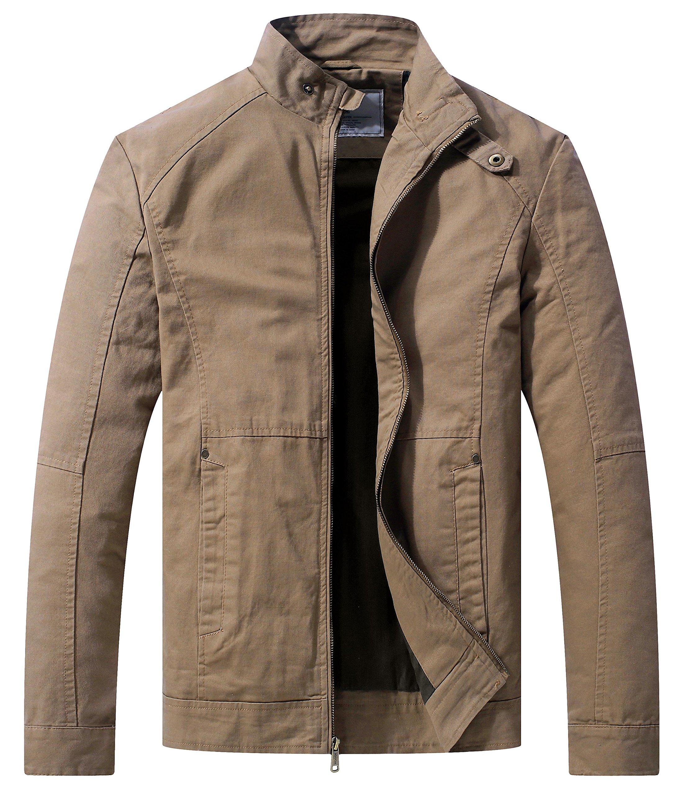 WenVen Men's Spring Casual Lightweight Full Zip Military Jacket(Khaki,Medium)