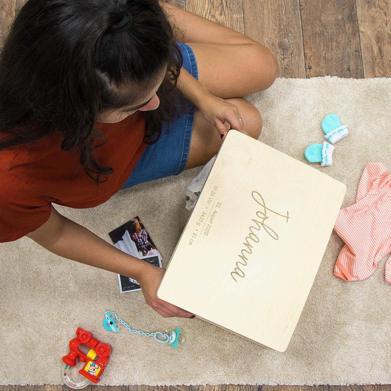 Gravur mit Name Geschenk zur Geburt LAUBLUST Erinnerungsbox Baby Personalisiert 40x30x24cm Holzkiste Natur FSC/®