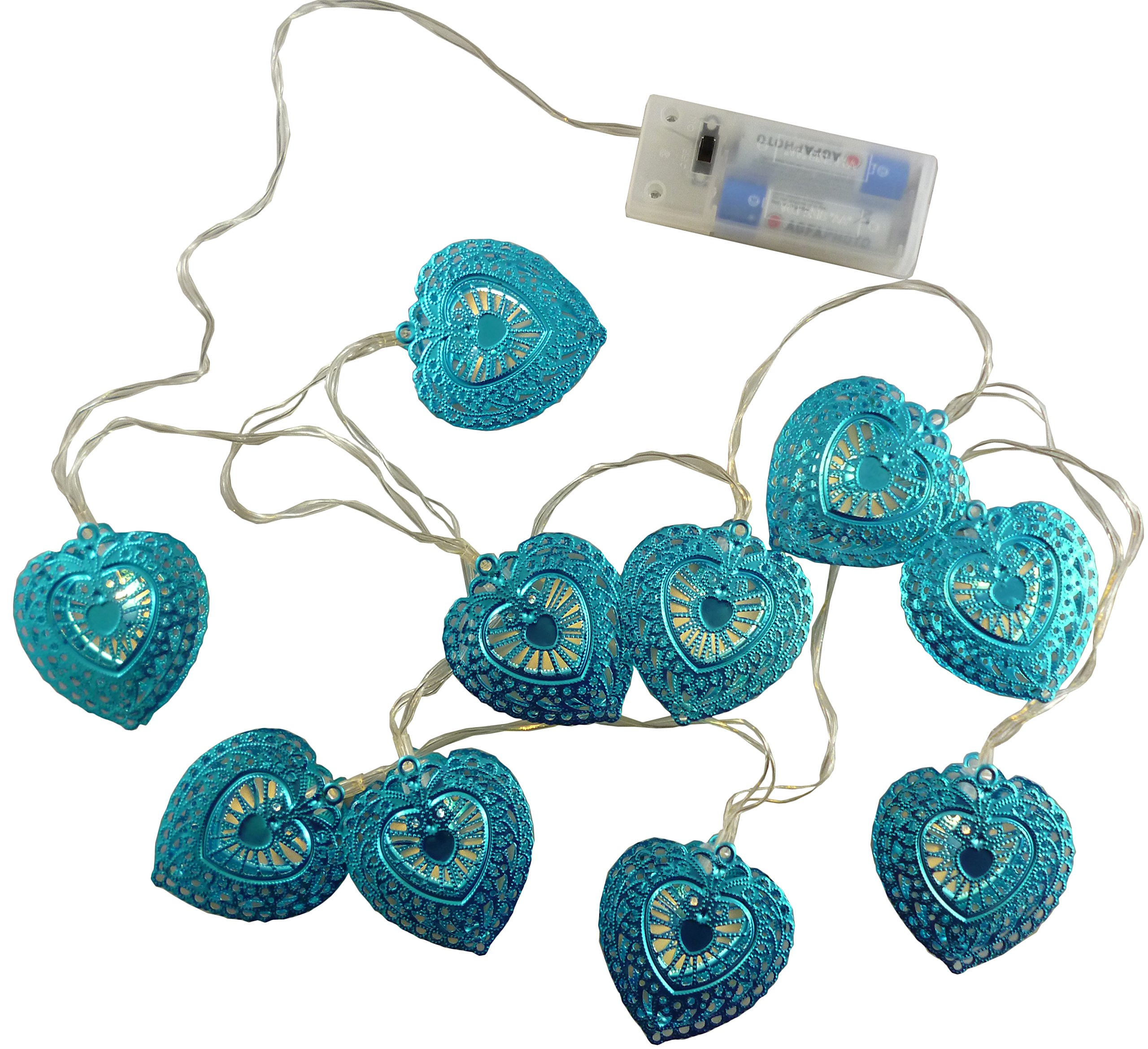 Christmas Concepts® 10 Warm White LED Metal Filigree Turquoise Heart Shaped Fairy Lights - Christmas Lights - Everyday Lights - Bedroom Lights by Christmas Concepts®