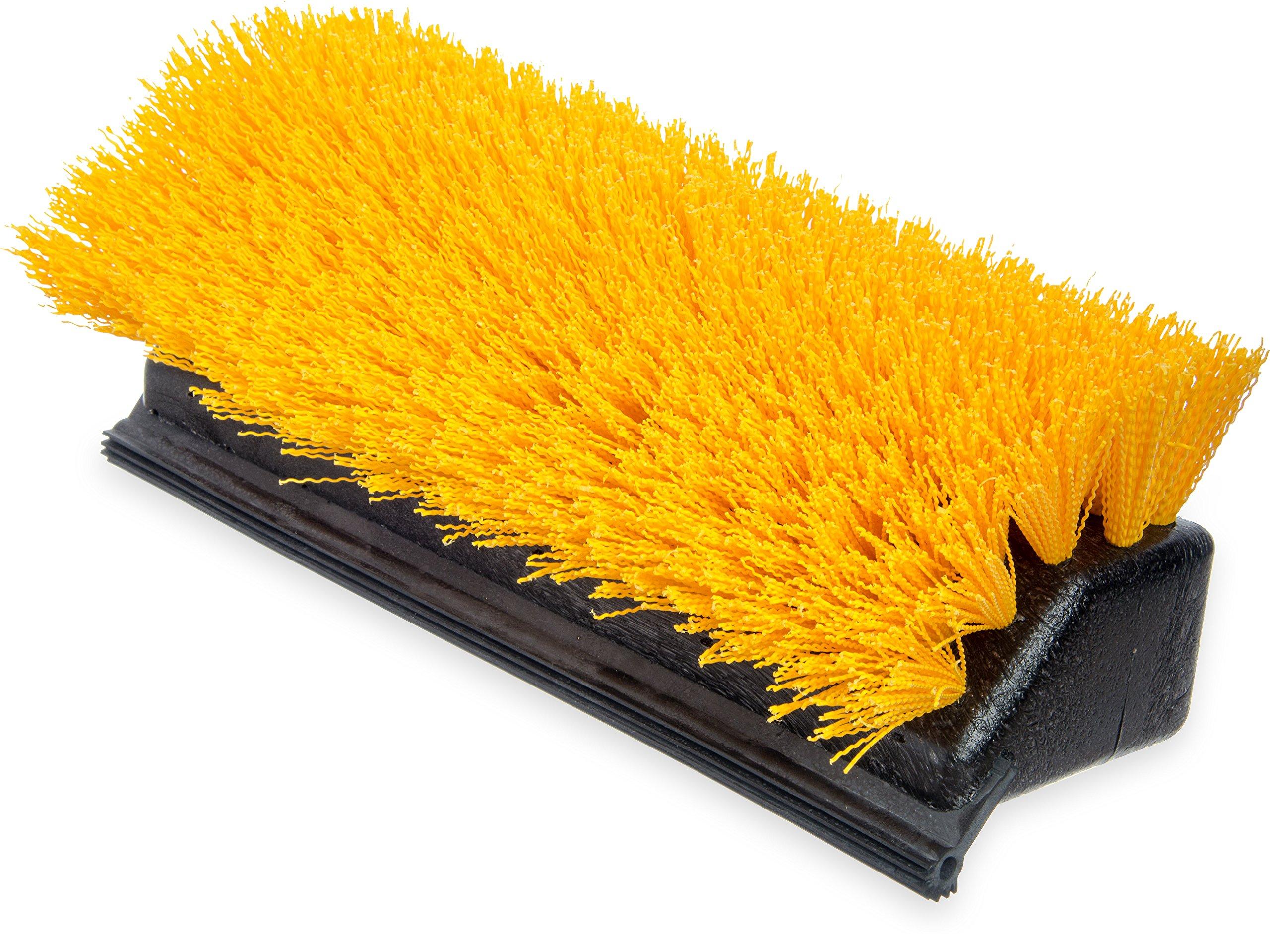 Carlisle 4042100 Plastic Block Hi-Lo Floor Scrub Brush with Squeegee, Polypropylene Bristles, 10'' Length x 4-1/2'' Width Block