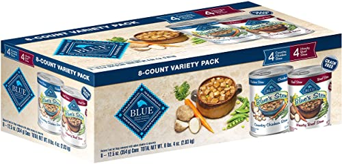 Blue Buffalo Stew Grain Free Natural Adult Wet Dog Food Variety Pack, Chicken Stew Beef Stew 12.5-oz can 8 Count- 4 of Each Flavor
