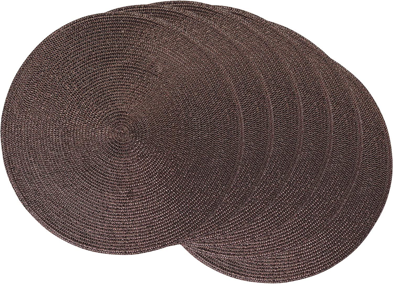 DII Round Braided & Woven, Indoor/Outdoor Placemat or Charger, Set of 6, Metallic Wine