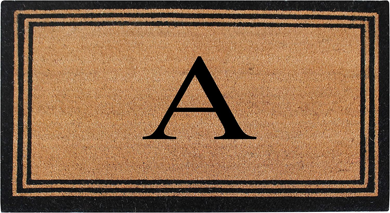 A1 Home Collections A1HOME200021-BR-Monogrammed A1HC Pure Natural Coir Doormat with Heavy Duty PVC Backing Monogrammed, A