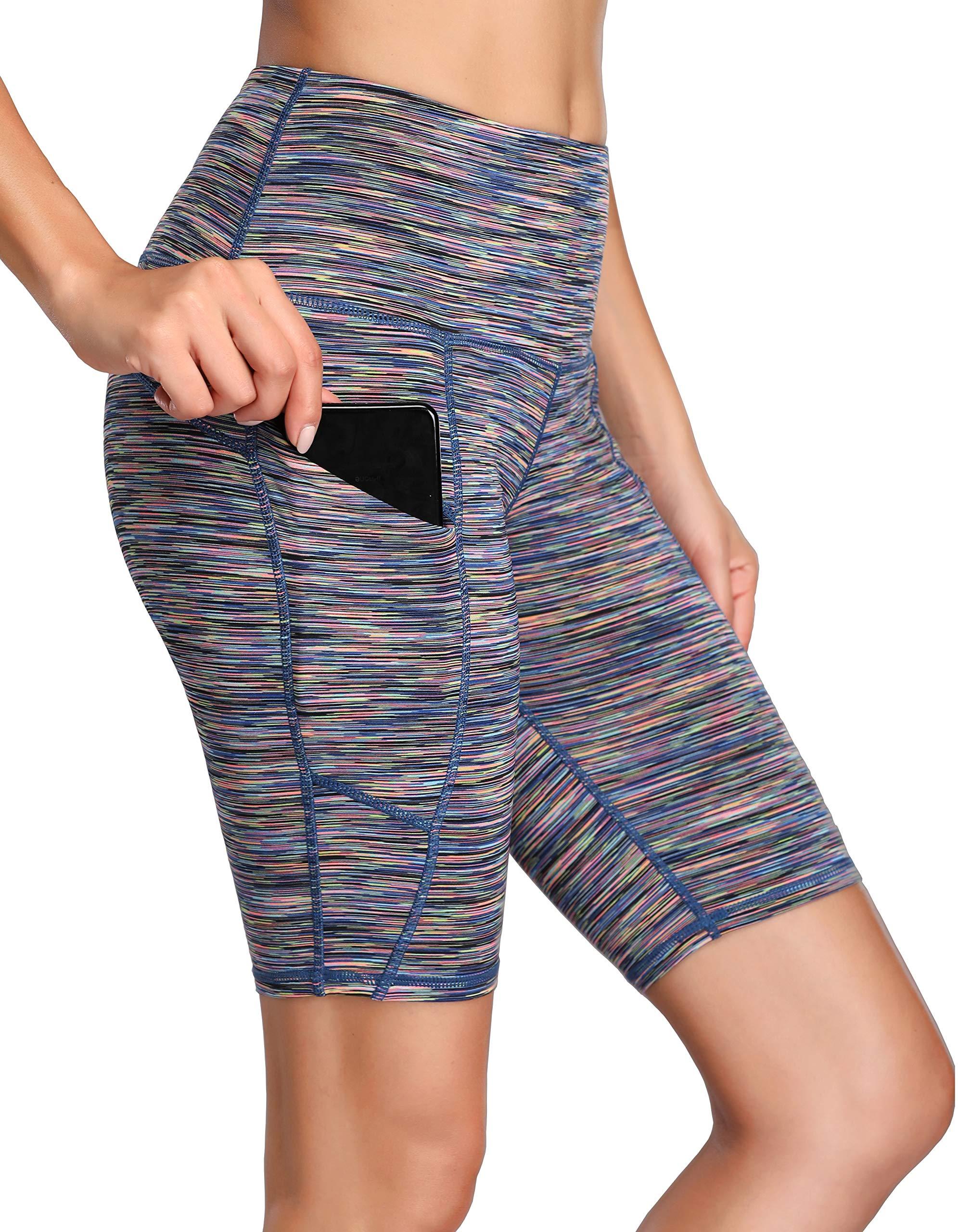 Oalka Women's Yoga Short Side Pockets High Waist Workout Running Shorts Space Dye Camo Multicolor XL by Oalka