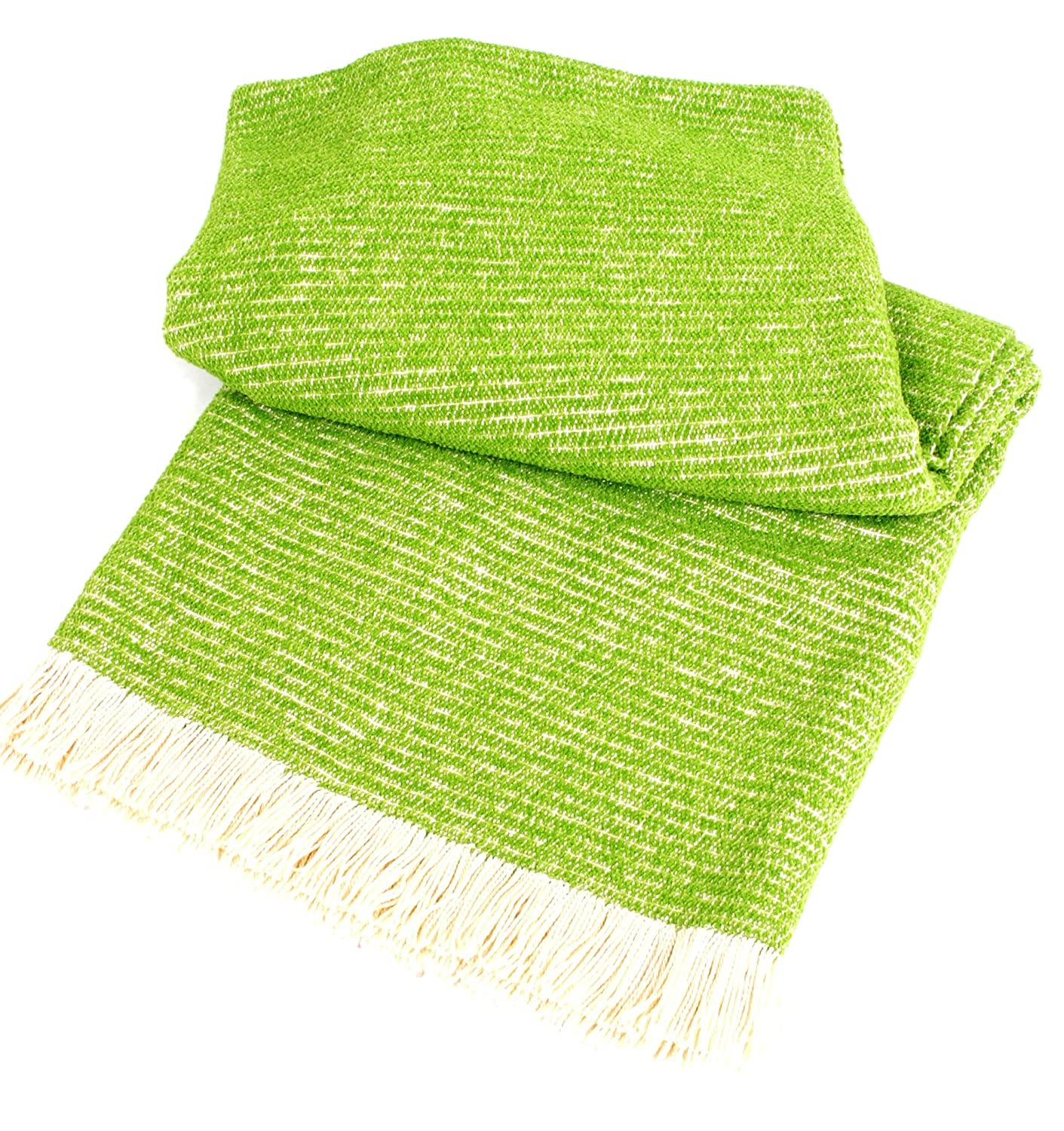 Apple Textillery Sunbrella Chenille Solid Throw, Cadet, 44 by 72-Inch