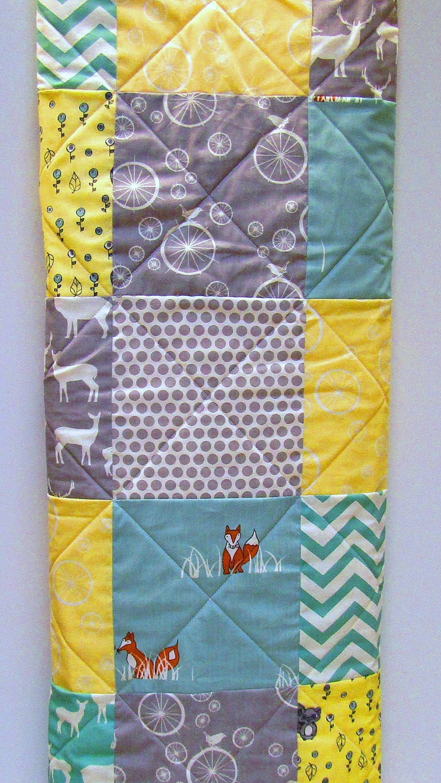Baby Quilt, Gender Neutral, Aqua, Yellow, and Gray, Grey