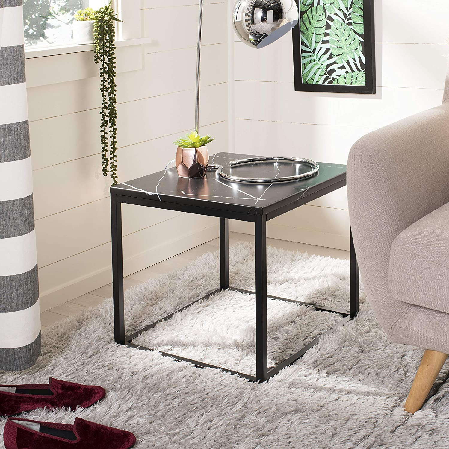 Safavieh Home Baize Black Square End Table
