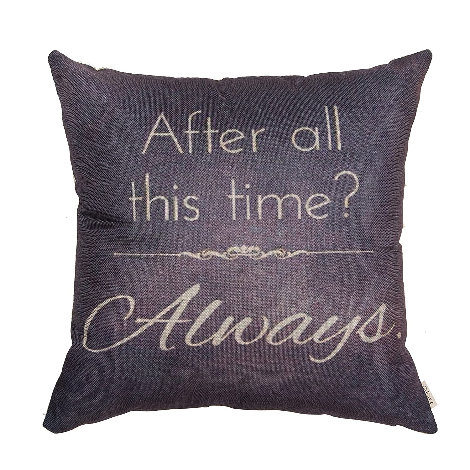"""Fjfz Retro Vintage After All This Time Always Motivational Sign Inspirational Quote Cotton Linen Home Decorative Throw Pillow Case Cushion Cover for Sofa Couch, Gray Brown,18"""" x 18"""""""