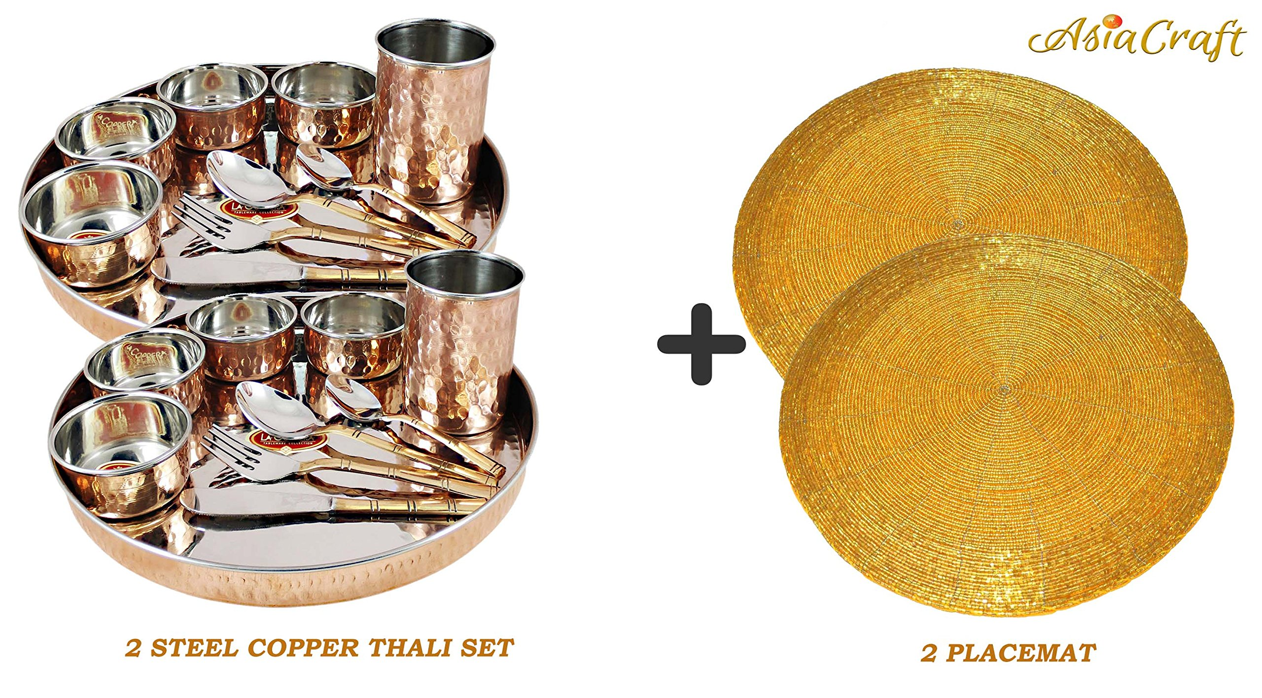 Asiacraft Service for 2,Copper Stainless Steel Large Dinner Plate Thali Set Dinnerware - Copper Dinner Set Online India With Placemat