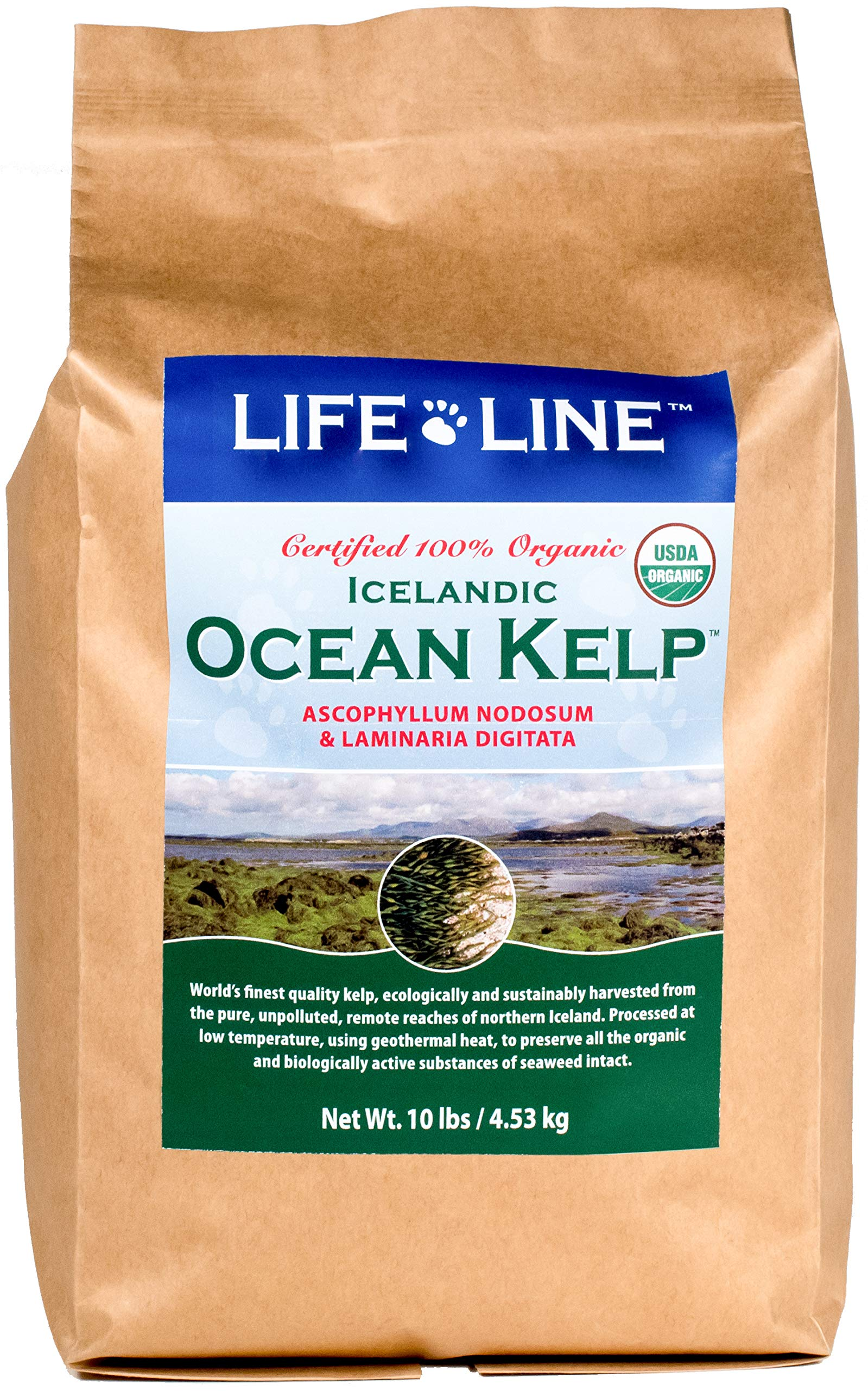 Life Line Pet Nutrition Organic Ocean Kelp Supplement for Skin & Coat, Digestion, Teeth & Gums in Dogs & Cats, 10 lb by Life Line Pet Nutrition