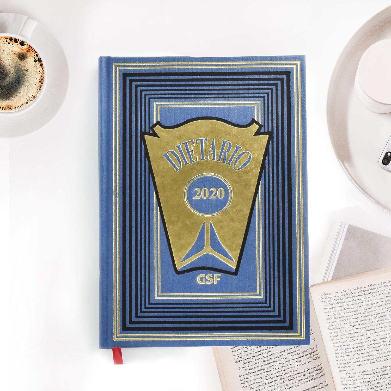 Dietario Cuarto (2020) -15x21.5cm - Día Pagina - Tapa dura en Geltex- Grabado en Oro (Azul)