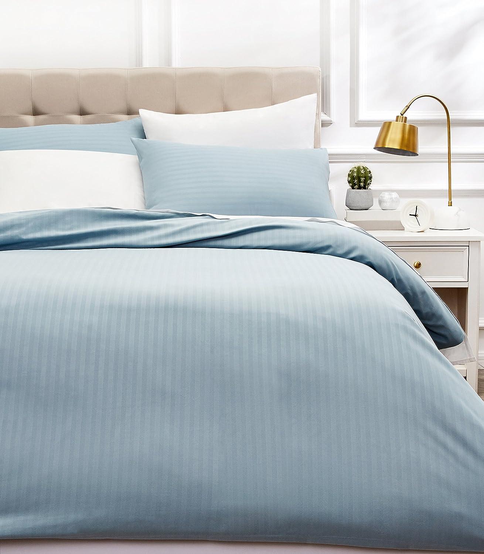 AmazonBasics - Juego de ropa de cama con funda nórdica de microfibra y 2 fundas de almohada - 260 x 220 cm, azul spa