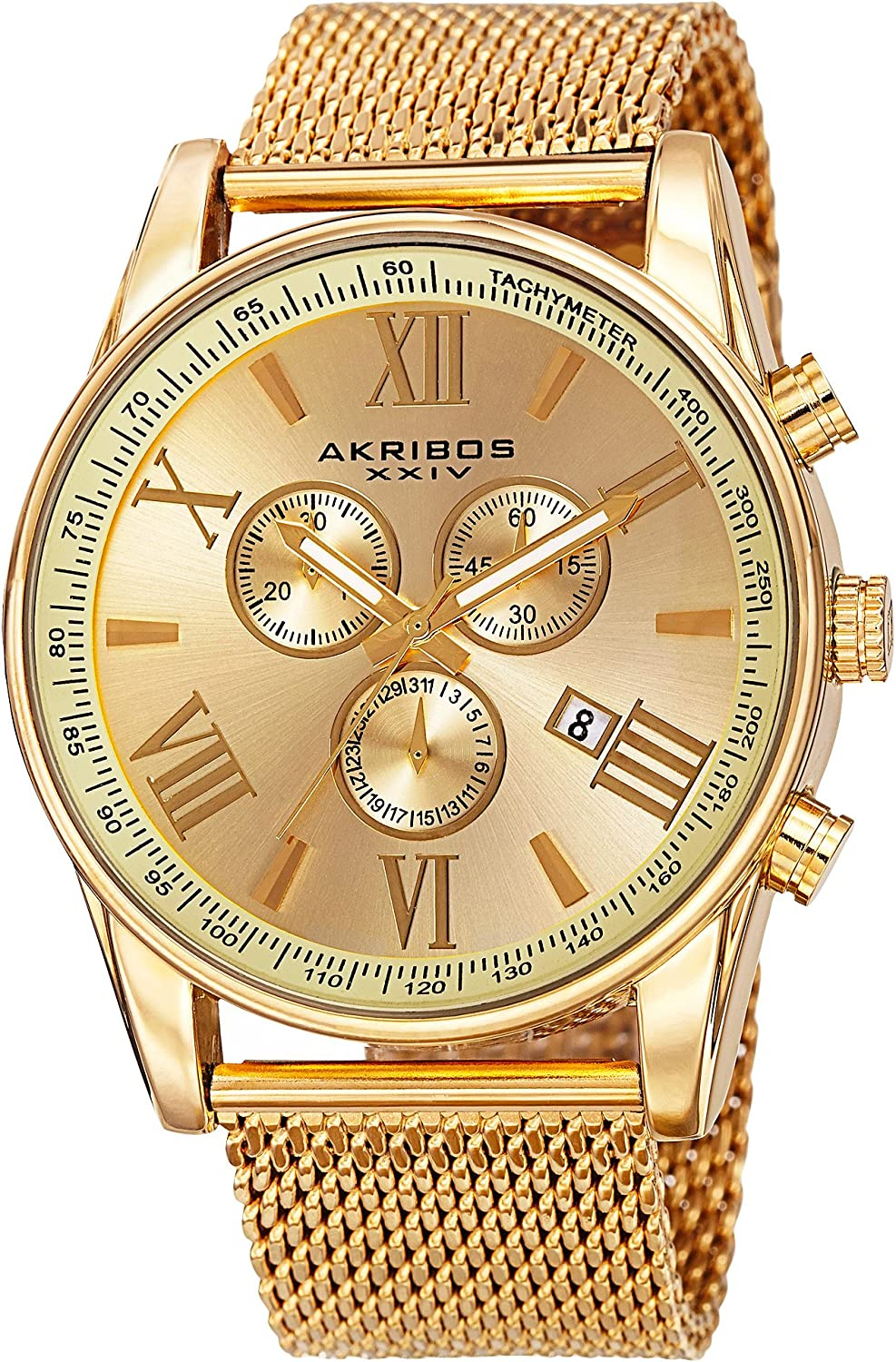 Akribos XXIV Swiss Chronograph Men's Watch - 3 Subdials with Date Window Sunburst Dial On Stainless Steel Mesh Strap - AK813