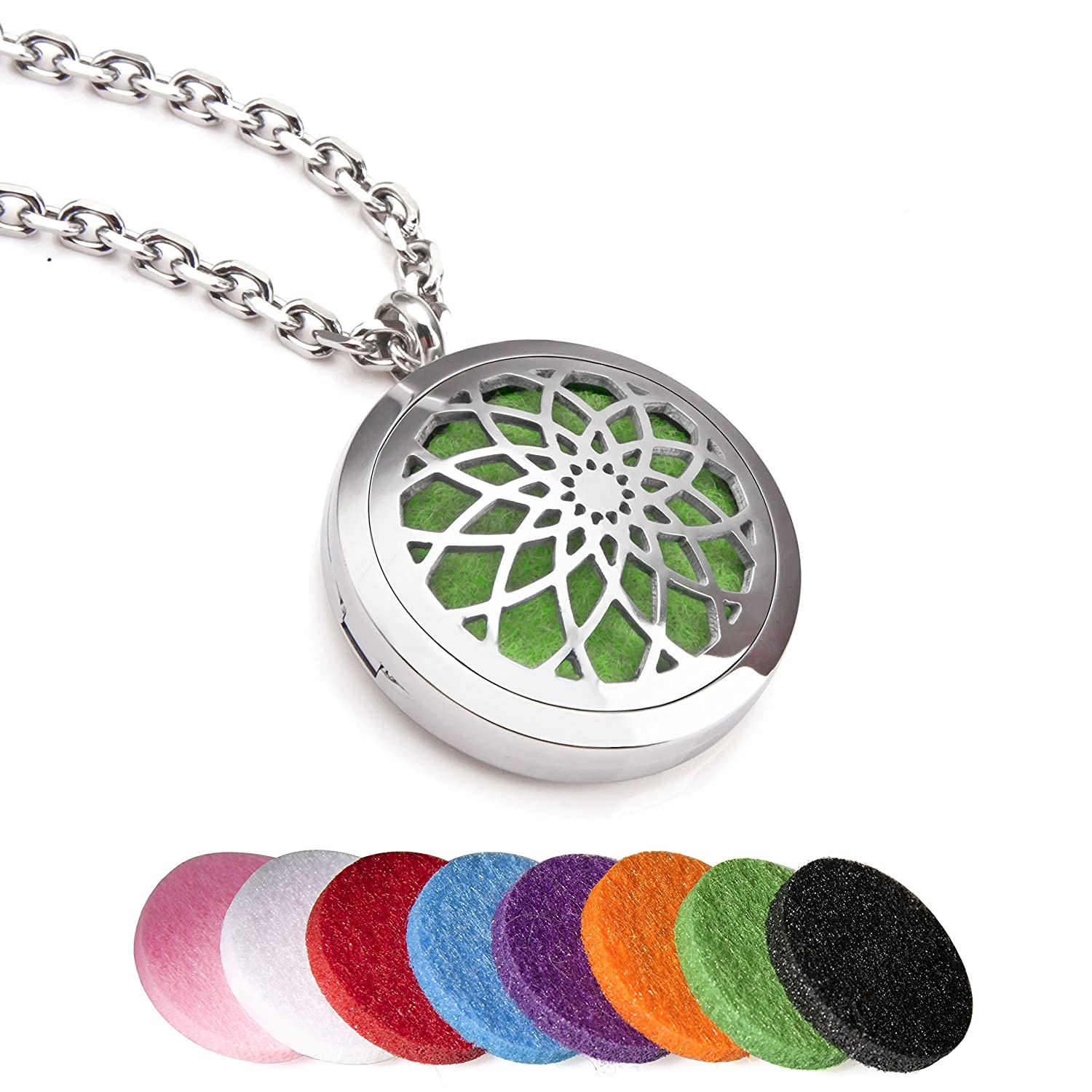 Everlead stainless steel convex round essential oils diffuser everlead stainless steel convex round essential oils diffuser magnetic locket carving aromatherapy pendant necklace amazon jewelry aloadofball Image collections