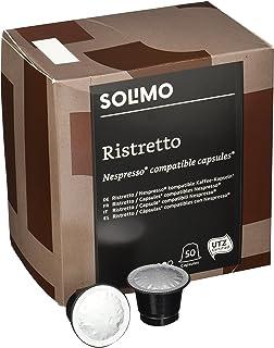 Marca Amazon - Solimo Cápsulas Ristretto, compatibles con Nespresso - café certificado UTZ, 100