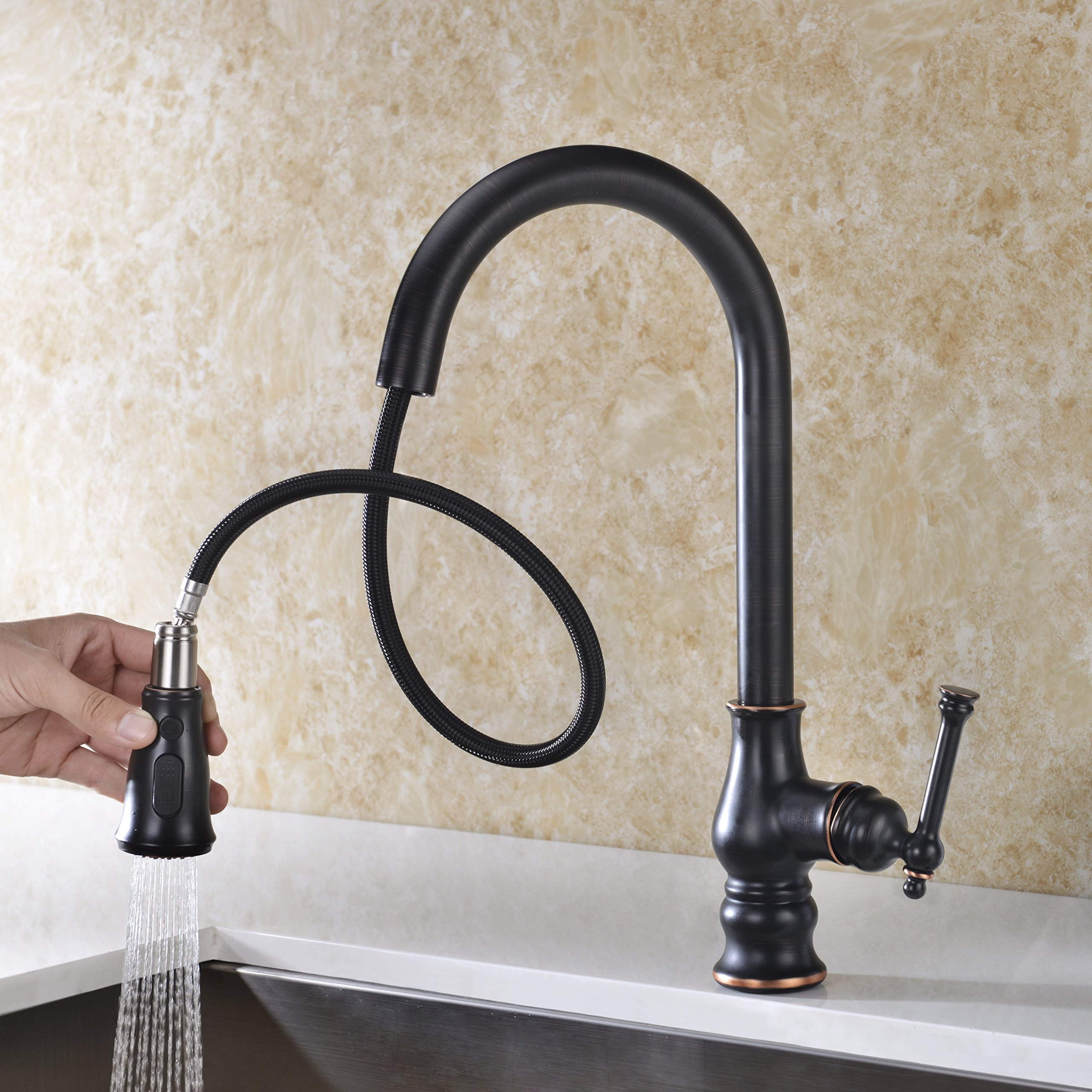 Kitchen Faucet with Pull Out Sprayer Delle Rosa Solid Brass Single Handle High Arc 360 Degree Swivel Pre-rinse Kitchen Sink Faucet Oil Rubbed Bronze by Delle Rosa (Image #3)