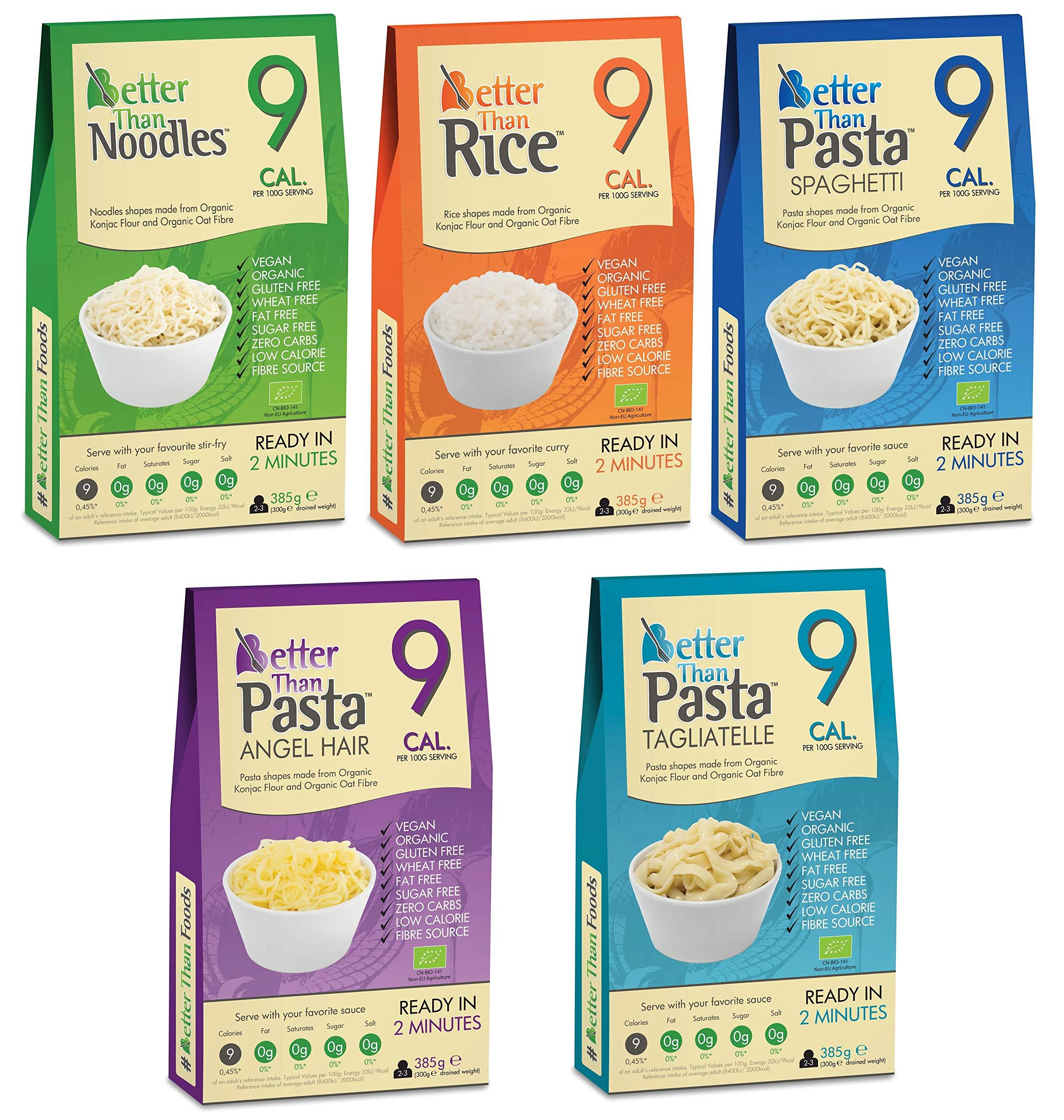 Better Than Foods 5 x Mixed Case 385g - Noodles Rice Spaghetti Angel Hair & Taglitelli
