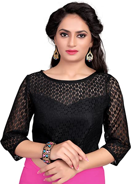 Sari Blouse Beautiful Black Pure Cotton Printed High Neck Readymade Stitched Saree Blouse Top Choli For Women Wear