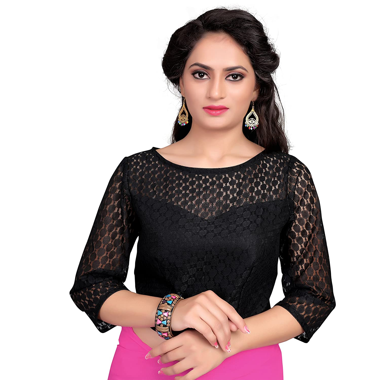 Women's Net N Art Silk Round Neck Sheer blouse design Readymade Blouse Partywear Saree Choli Mirchi Fashion Top
