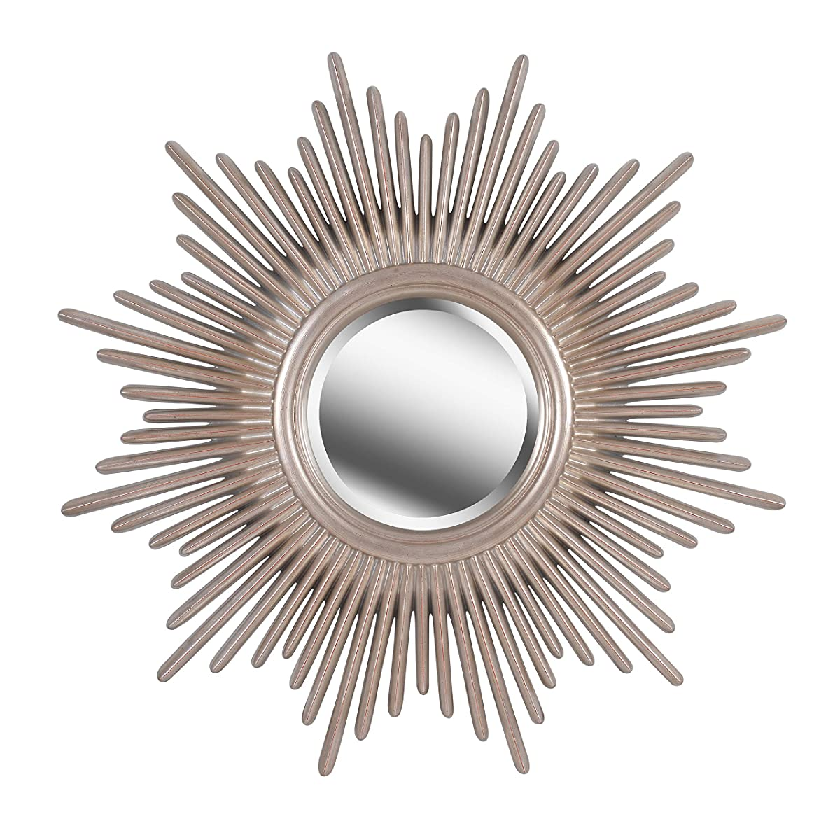 Kenroy Home Classic Sunburst Round Wall Mirror, 36 Inch Diameter, Warm Antique Silver Finish, Easy Hang D-Rings Included