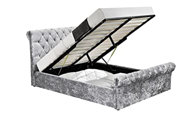 Excellent Unmatchable Velvet Chenille Ottoman Storage Fabric Bed Frame Double Or King Size Bedroom New Velvet Silver Double Pabps2019 Chair Design Images Pabps2019Com