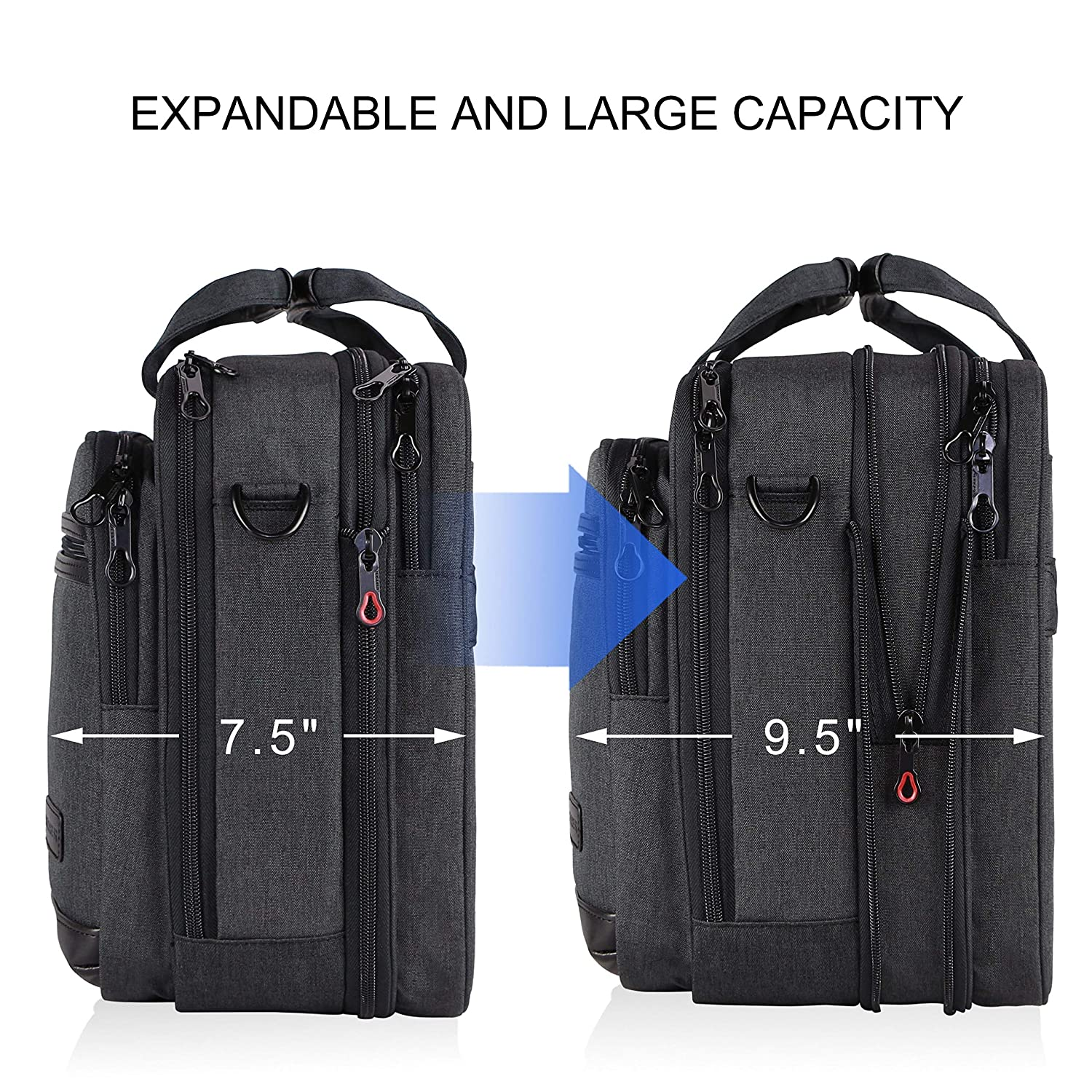 "KROSER 18/"" Laptop Bag Stylish Laptop Briefcase Fits Up to 17.3 Inch Expandable Water-Repellent Shoulder Messenger Bag Computer Bag with RFID Pockets for Business//Travel//School//College//Men//Women-Black"