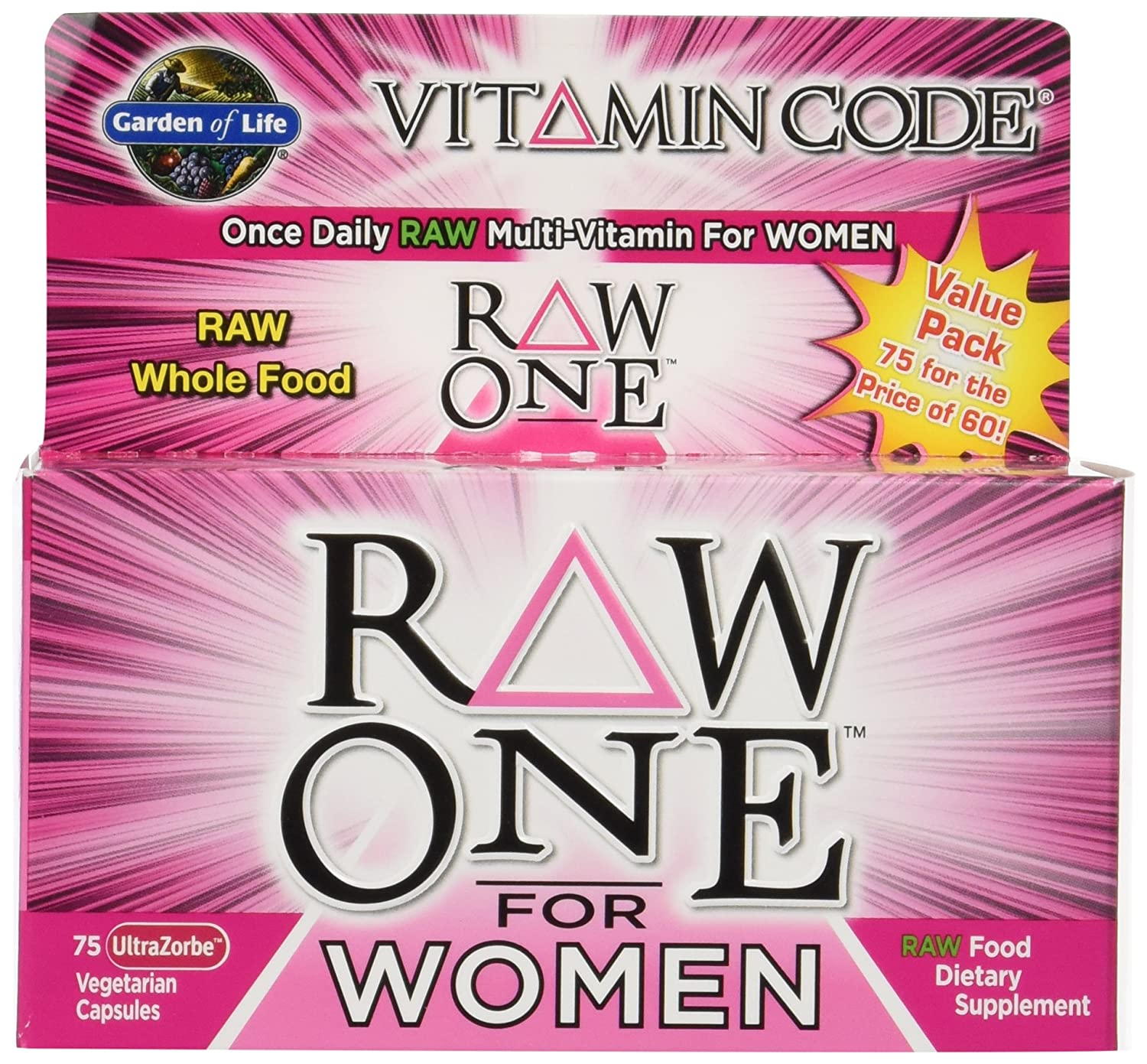 Garden of Life Vitamin Code Raw One for Women 2 packs of 75 each