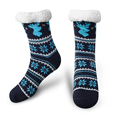 71923b1fae390 Slipper Socks Fleece-Lined Cozy Thick Winter Knee Highs Stockings for Woman?Girl  by MissDill - NAVY -: Amazon.co.uk: Clothing