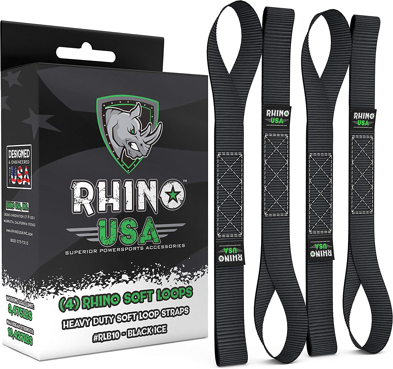 """RHINO USA Soft Loops Motorcycle Tie Down Straps (4pk) - 10,427lb Max Break Strength 1.7"""" x 17"""" Heavy Duty Tie Downs for use with Ratchet Strap - Secure Trailering of Motorcycles, Kayak, Jeep, ATV, UTV: Automotive"""
