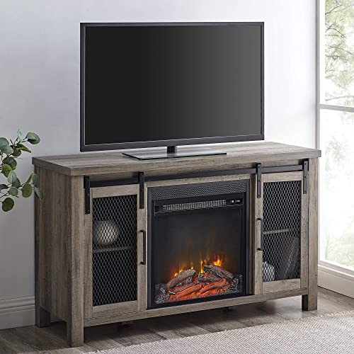 Walker Edison Tall Farmhouse Metal Mesh Barndoor and Wood Universal Fireplace Stand or TV's up to 55″ Flat Screen Living Room Storage Entertainment Center