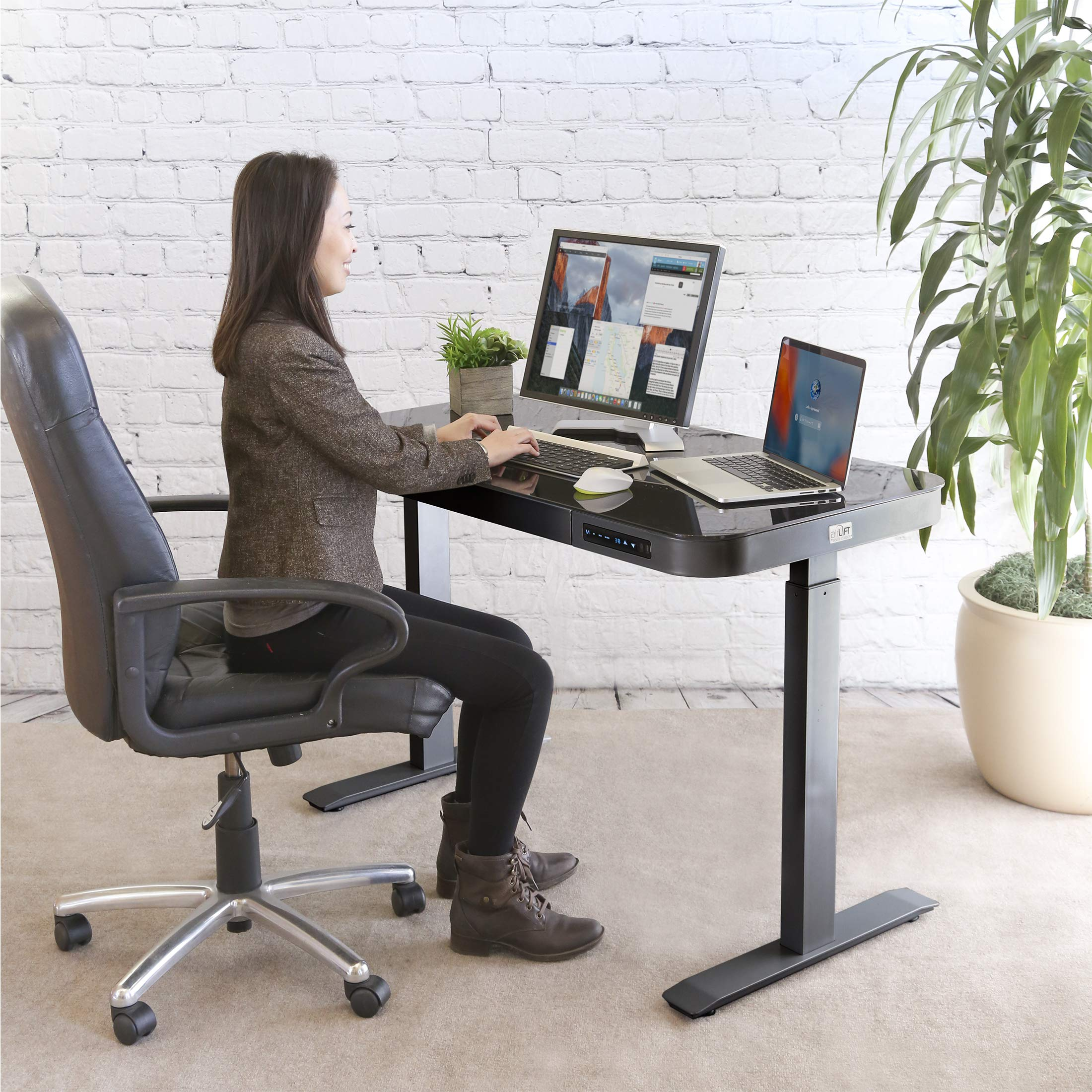 Seville Classics AIRLIFT Tempered Glass Electric Standing Desk with Drawer, 2.4A USB Ports, 3 Memory Buttons (Max. Height 47'') Dual Motors, Gray with Black Top by Seville Classics (Image #3)